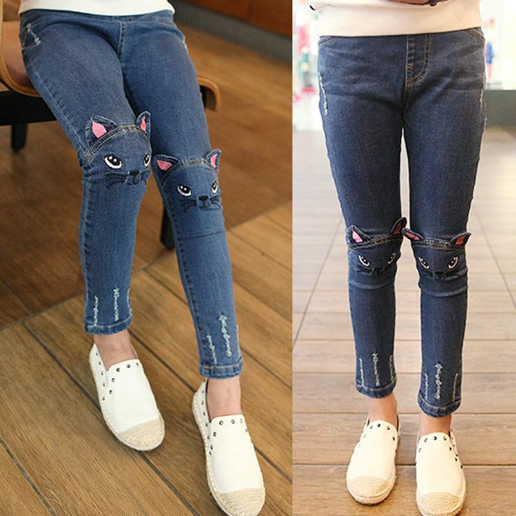 2018 New Spring Autumn Cat Cartoon Pattern Kids Jeans pants Fashion Cute High Quality Children Very Casual Jeans For Girls