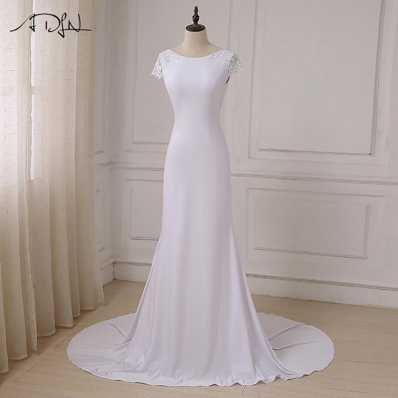 compre al por mayor nuevo largo blanco sirena vestidos de novia