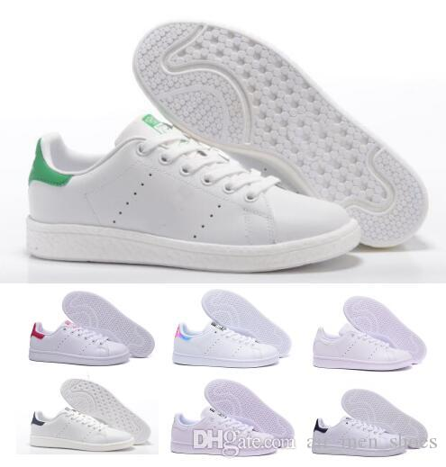 low priced 9786f 6f742 Acquista Acquista 2018 Mens Donna Stan Smith Classic Boat Flats Air Casual  Scarpe Skateboard Punzonatura In Pelle Bianca Ragazze Originali Designer Di  ...