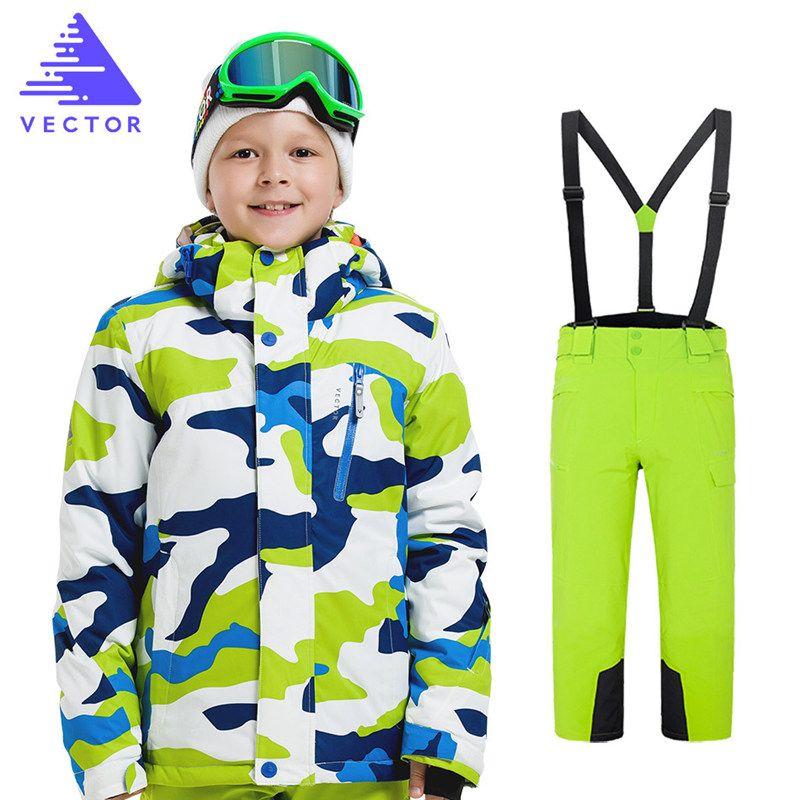 7782b69de 2019 Boys Ski Jacket Pant Children Waterproof Windproof Clothing ...