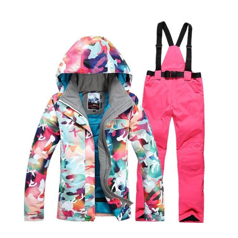 c0ae7c25eb 2019 Camouflage Women Snow Clothes Outdoor Sports Ski Suit Sets Snowboarding  Clothing Waterproof Windproof Jackets And Bibs Pants From Dragonfruit