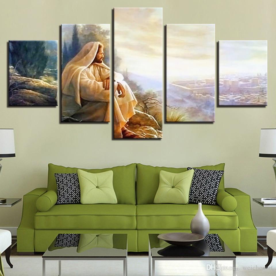 Canvas HD Imprime Pinturas Glória Da Arte Da Parede Modular Para Deus Pictures Quadro 5 Peças Jesus Cristo Poster Home Decor Sala de estar