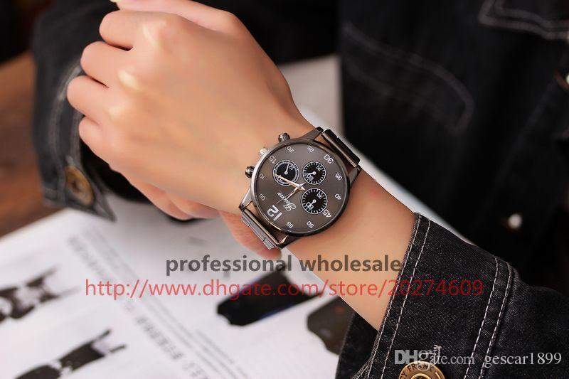 Gescar Trending Men Watch Wholesale Designer Style Stainless Steel Belt Watch Digital Dial Male Wristwatch For Men