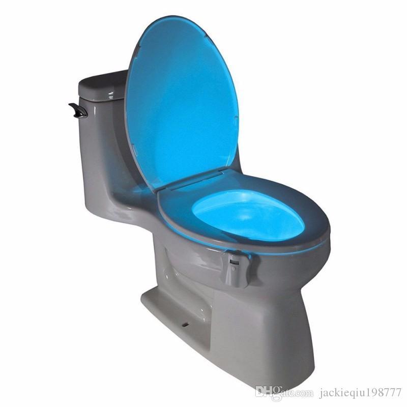 Beyaz ABS 8 değişen Renkler Kase Banyo Gece Lambası Akıllı Lamba LED Işık İnsan Hareket Aktif Sensör Otomatik Klozet Nightlight