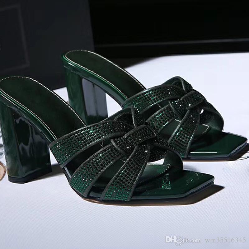 Club Nocturno de verano Sandalias de fiesta de fiesta Stilettos zapatos para mujer Tacones altos Zapato de mujer Tacón fino Cadena Envío de la gota