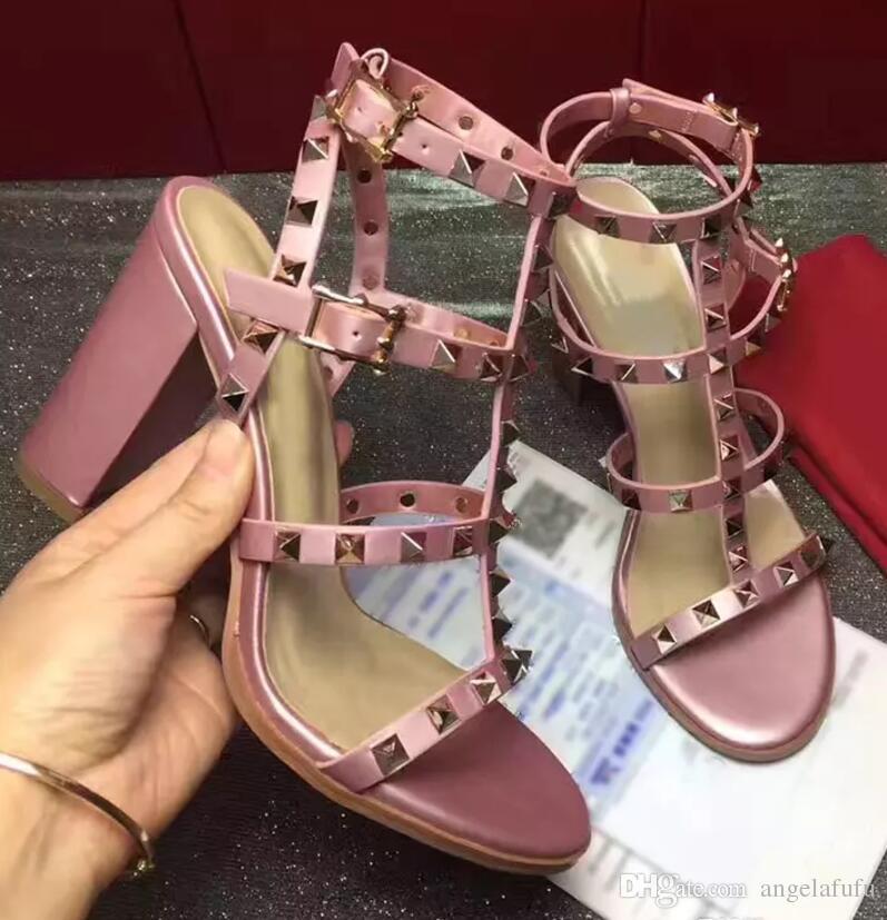 2018 yüksek kalite Avrupa tarzı marka ayakkabı ithal deri kadın sandalsdesigner etiketi var kadın terlik kadın moda yüksek topuklu