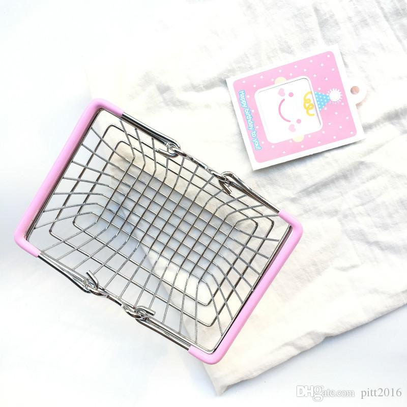 Mini Supermarket Shopping Cart Kids Toy Desktop Cosmetic Sundries Organizer Iron Storage Basket 3 Sizes ZA4097