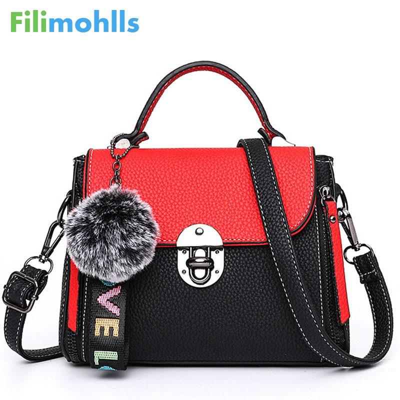 616b89518260 Hit Color Women S Handbags Leather Ladies Hand Bags 2018 New Women Bag  Shoulder Bag Bolsos Fur Toy Women Messenger Bags S1426 Evening Bags Leather  Goods ...