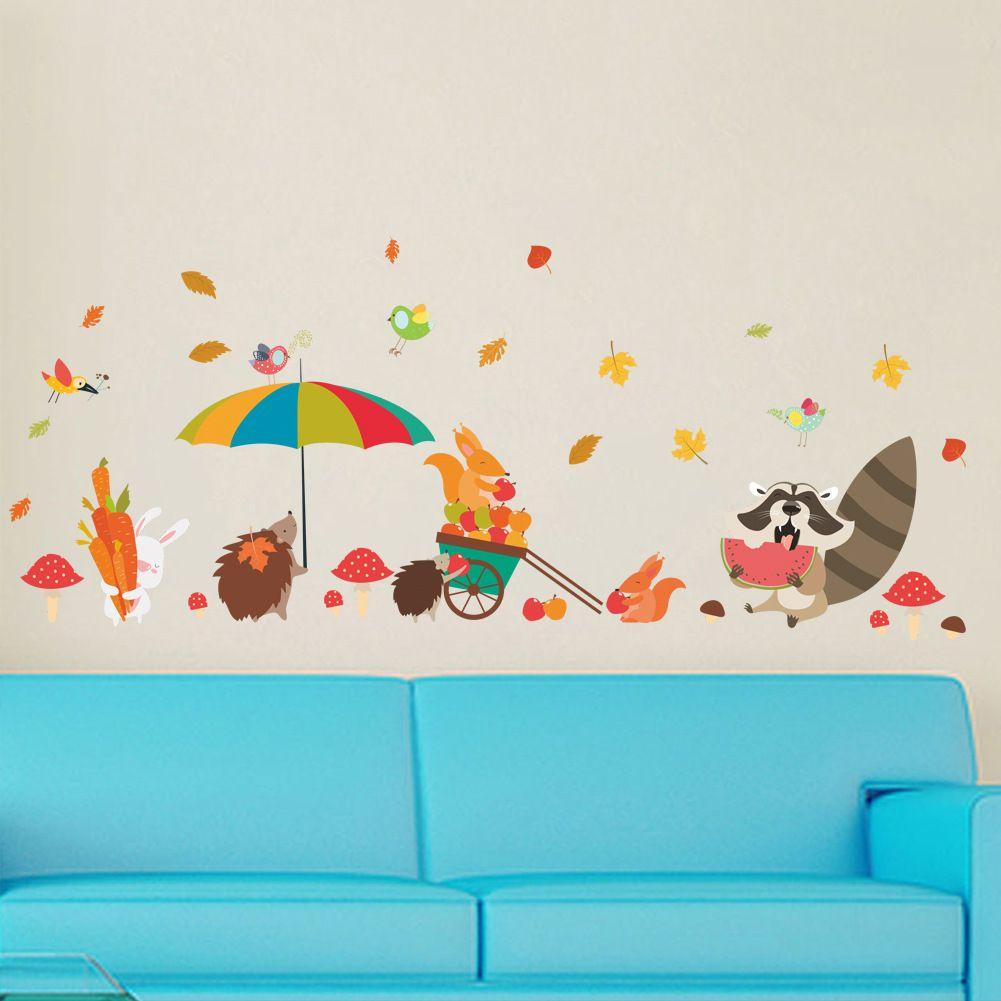 Hedgehog Squirrel Cute Animal Wall Sticker Art Decor For Kids Room