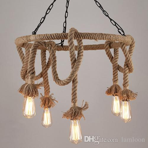 loft antique industrial wind led pendant lamps for coffee shop bar club theme hotel decoration pendant lighting hemp rope pendant lights pendant lights