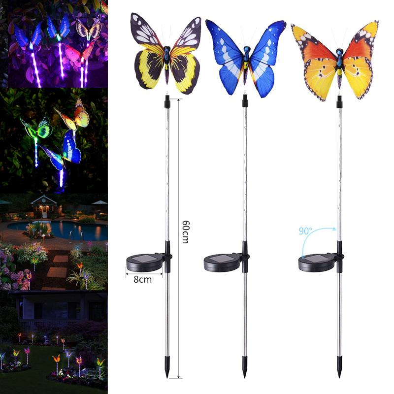 Solar Powered Butterfly Lights Waterproof Colorful Landscape Light for Fence Lawn Garden Christmas Decorative Light 2 Pack