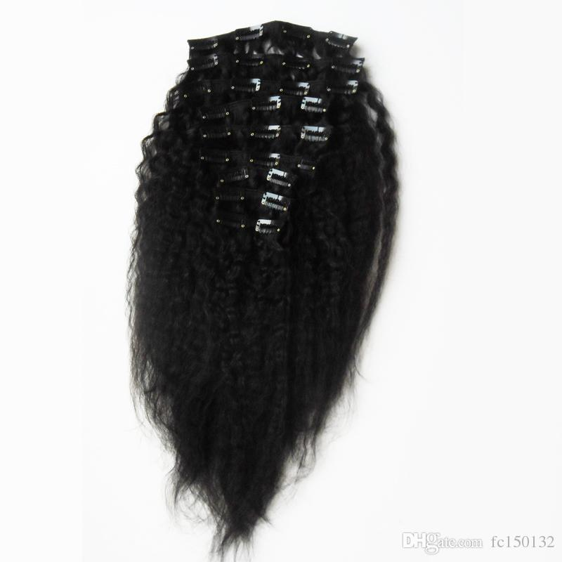 120g Kinky Straight Clip In Human Hair Extensions Brazilian Remy Hair 100% Human Natural Hair Coarse Yaki Clip Ins Natural Black