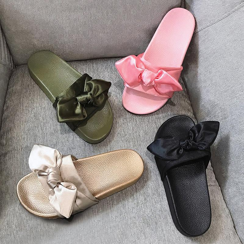 3029ab89b1ad Women Slippers Silk Bow Slides Summer Beach Shoes Woman No Fur Slippers  Flat Heels Flip Flops Ladies Rihanna Bohemia Sandals Ankle Boots Slippers  From Bking ...