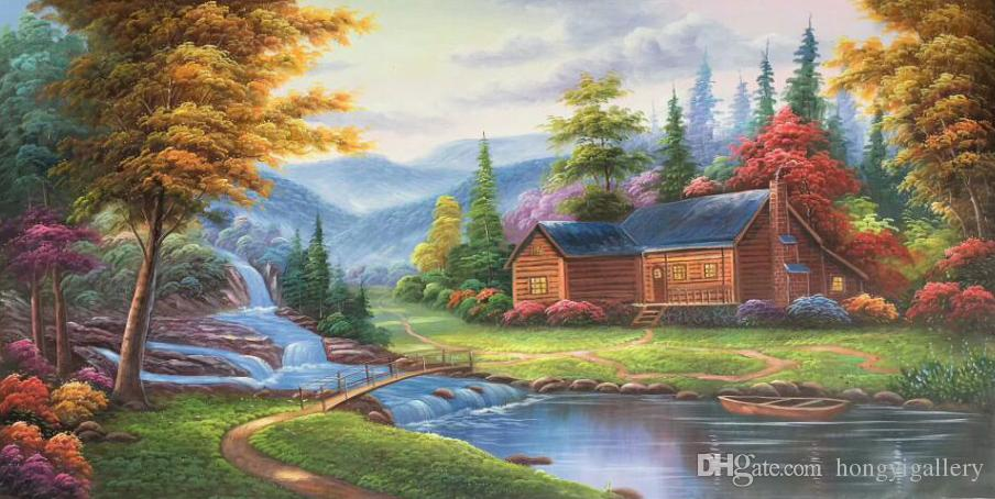 100 Handpainted Thomas Kinkade Landscape Oil Painting Reproduction On Canvas Modern Wall Art For Living Room Bedroom Home Decoration Wx36