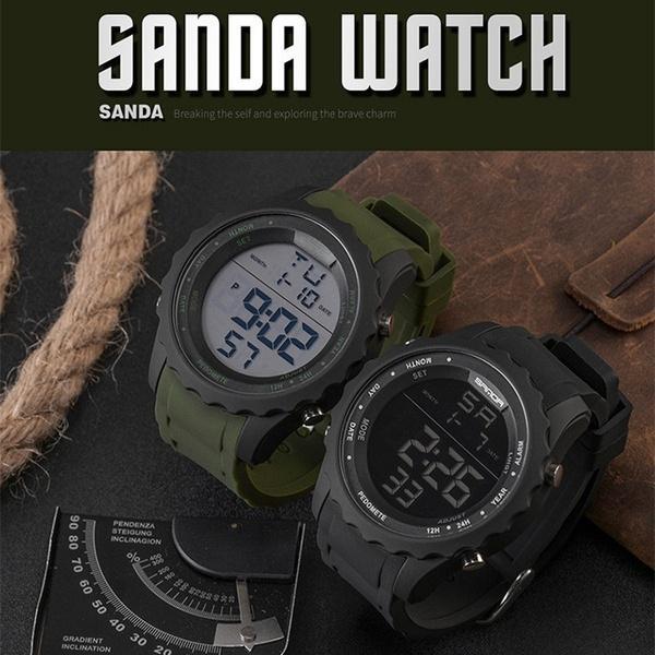 Uhren Herrenuhren Mann Uhr 2017 Sanda Sport Uhr Digitale Stoßfest Stoppuhr Armbanduhren Outdoor Military Led Hodinky Relogio Masculino