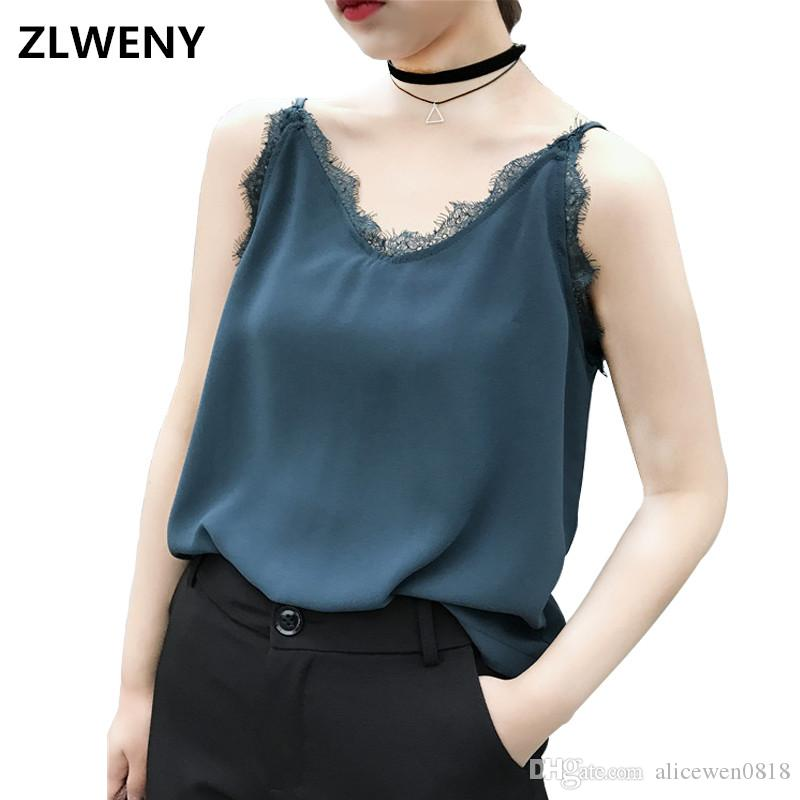 9a23e6e5048e0 Summer Sexy Lace V Neck Chiffon Top Tees Women Black Sleeveless Bustier Top  Green Camisole Party White Tops Tank Slim Female Camisole UK 2019 From ...