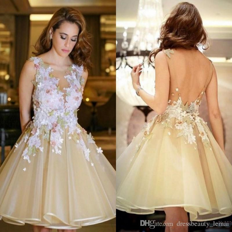 Elegant Ruffles With White Appliques Homecoming Dresses 2018 New Sheer Neck  V Cut Backless Knee Length Cocktail Gowns Cheap Homecoming Dress Sale  Homecoming ... 3bfcc3c2aba8