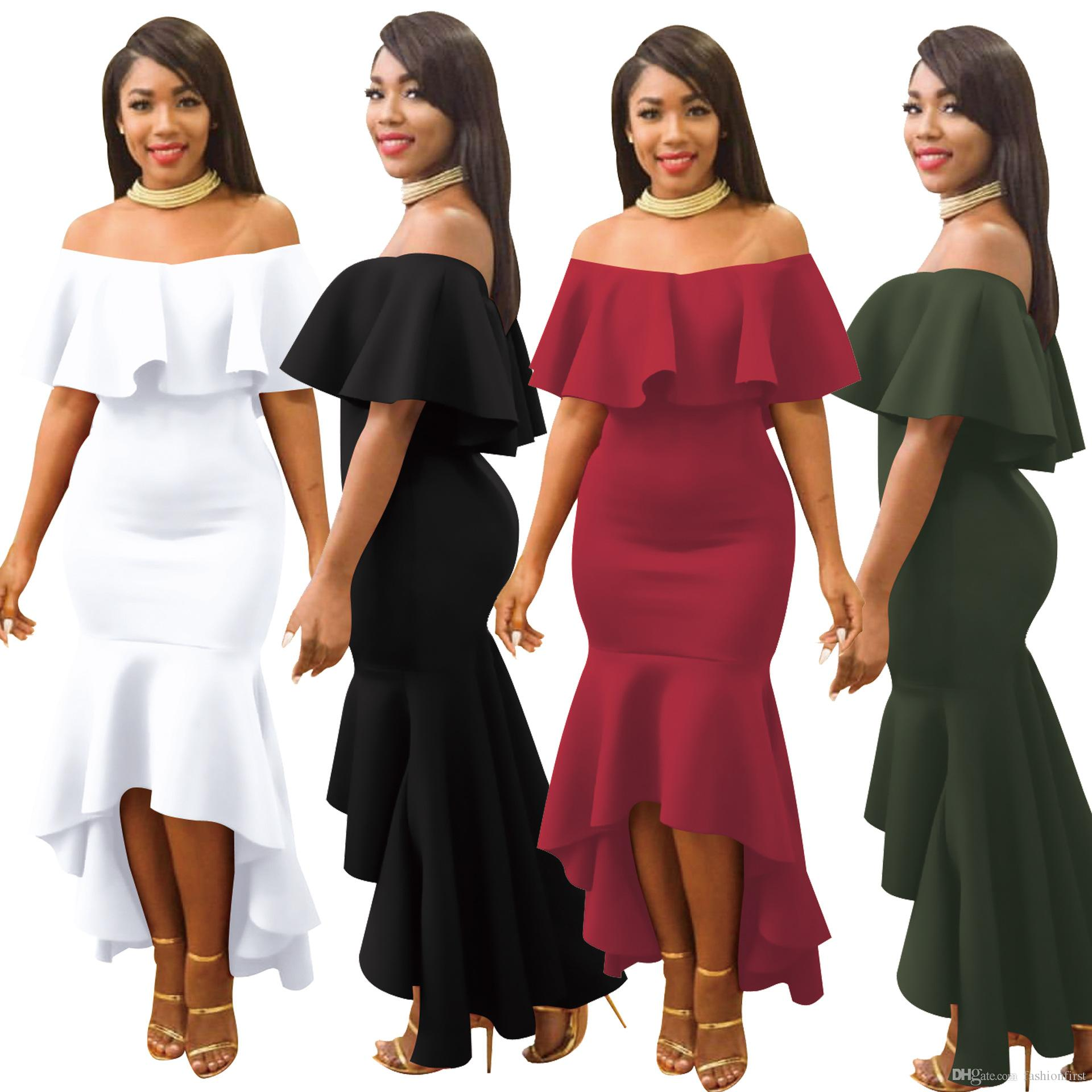 13c8ceda3600 Women Ruffle Off Shoulder Dress Elegant Wine Red Army Green Party Ruffled  Dress Romantic Urban Boho Dress Sequin Dresses Sweater Dresses From  Fashionfirst