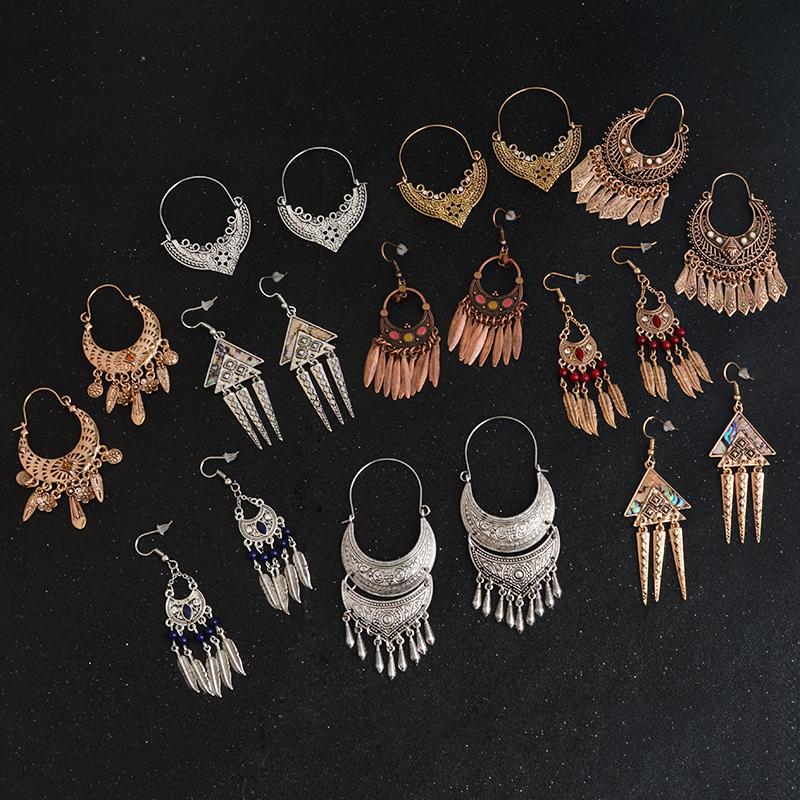 3840791aa7d3 QIHE JOYERÍA Plata Antigua Color Oro Pendiente de filigrana tibetana  Joyería Boho Pendientes gitanos colección Pendientes para mujeres