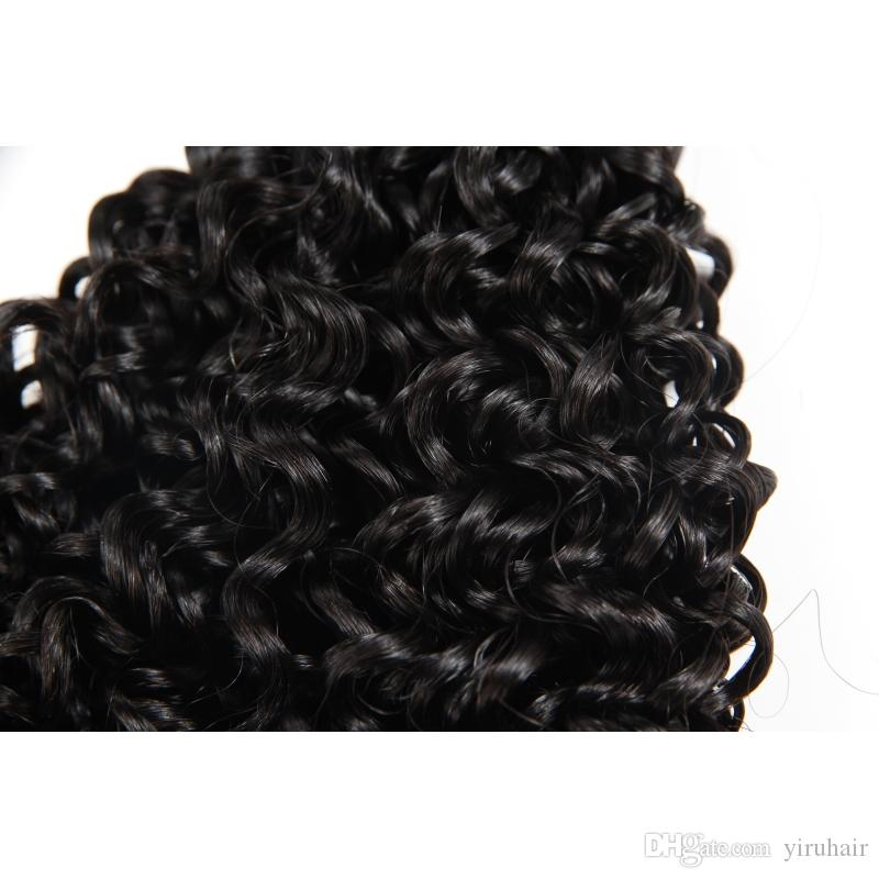 Capelli umani brasiliani Fumi ricci bagnati ed ondulati 8-20 pollici estensioni dei capelli vergini africani Fumi Water Wave ricci di colore naturale