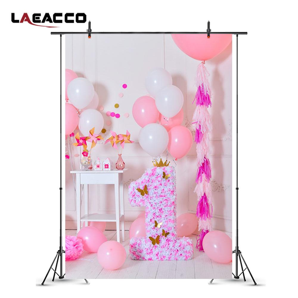 2019 Laeacco Cute Pink Balloons 1 Year Old Birthday Baby Photography Backgrounds Customized Photographic Backdrops For Photo Studio From Xbye