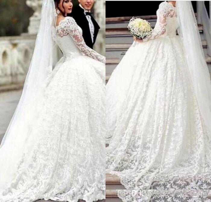 294b6f3d0 Luxurious Long Sleeve Ball Gown Wedding Dresses Appliques Lace Arabic  Vintage Bridal Dress For Middle East Bridal Wedding Gowns Sheath Wedding  Dresses Silk ...