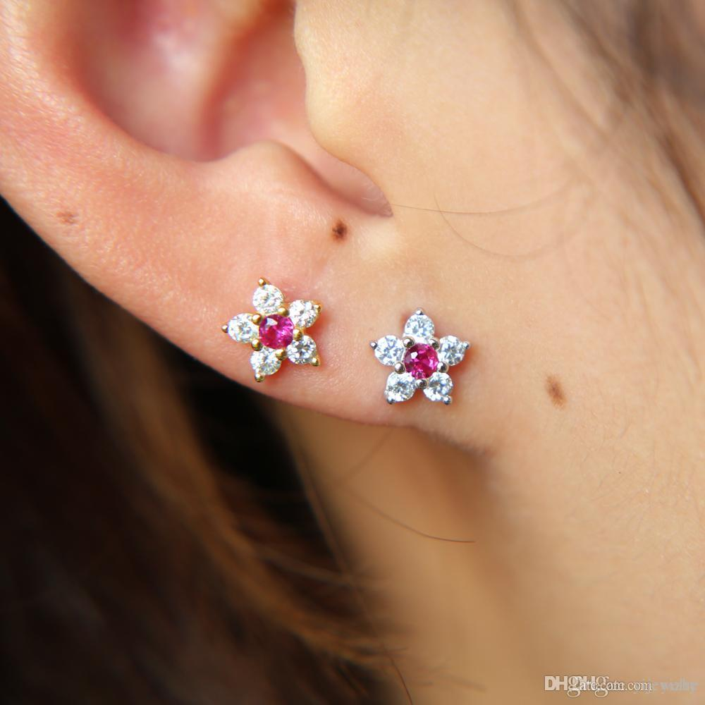 3989508ac 2019 925 Sterling Silver Cute Small 6mm Cz Flower 2018 Spring New Design  Dainty Flower Fit Pandora Silver 925 Stud Earring From Yijewelry, $5.02    DHgate.