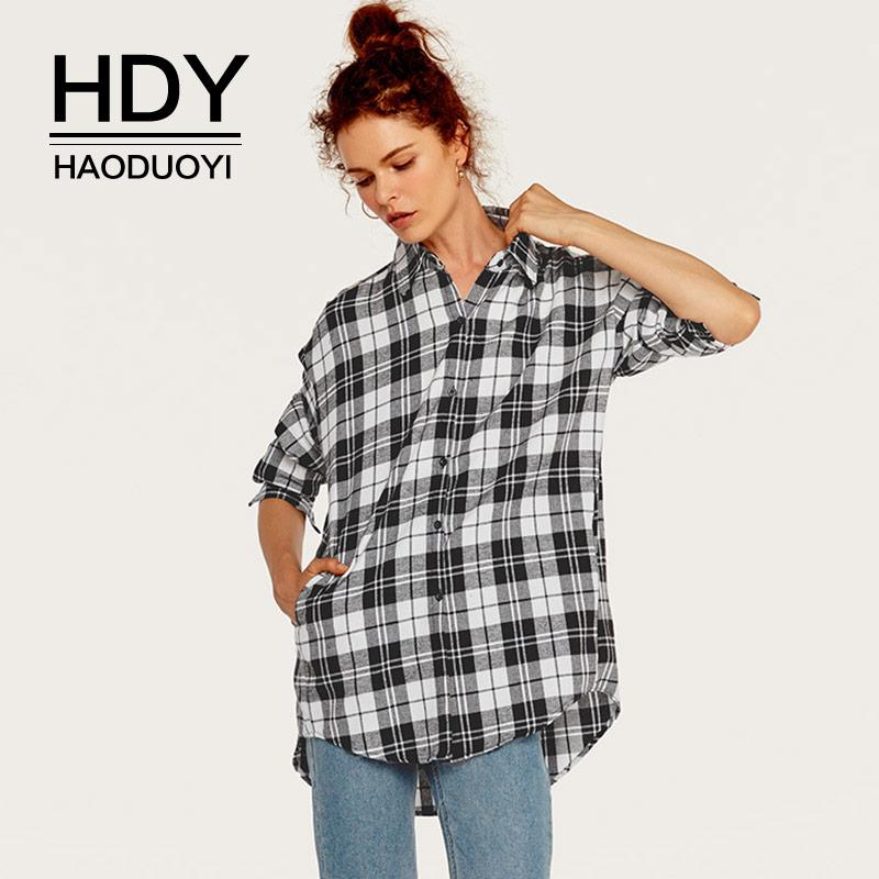 9441311a 2019 HDY Haoduoyi 2018 Autumn Plaid Shirt Women Long Sleeve Blouses Boy  Friend Style Casual Shirts Preppy Blouse Side Split Black Red From Xinpiao,  ...