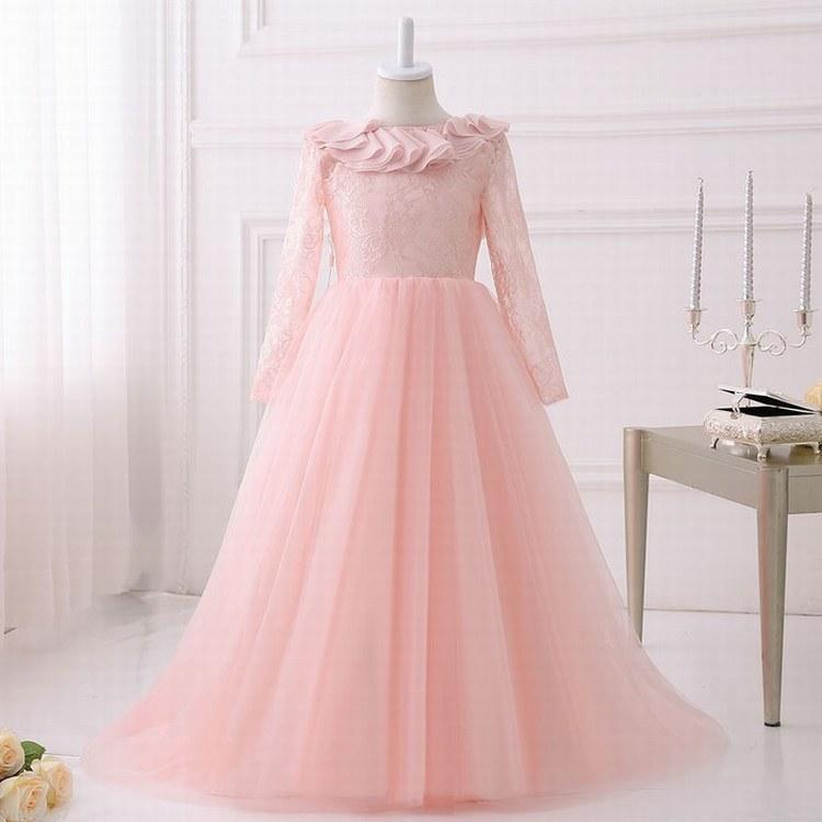 Elegant Pink Flower Girl Dresses Kids Wedding Party Children Pageant ...