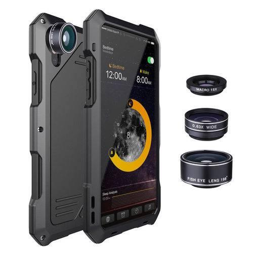 sale retailer f57d9 ce20a For iPhone X Waterproof 3 Camera Lens Shockproof Metal Case Back Cover