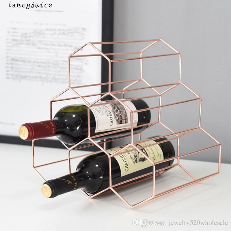 Grosshandel Haushalt Trauben Weinregal Kreative Geometrische Metall