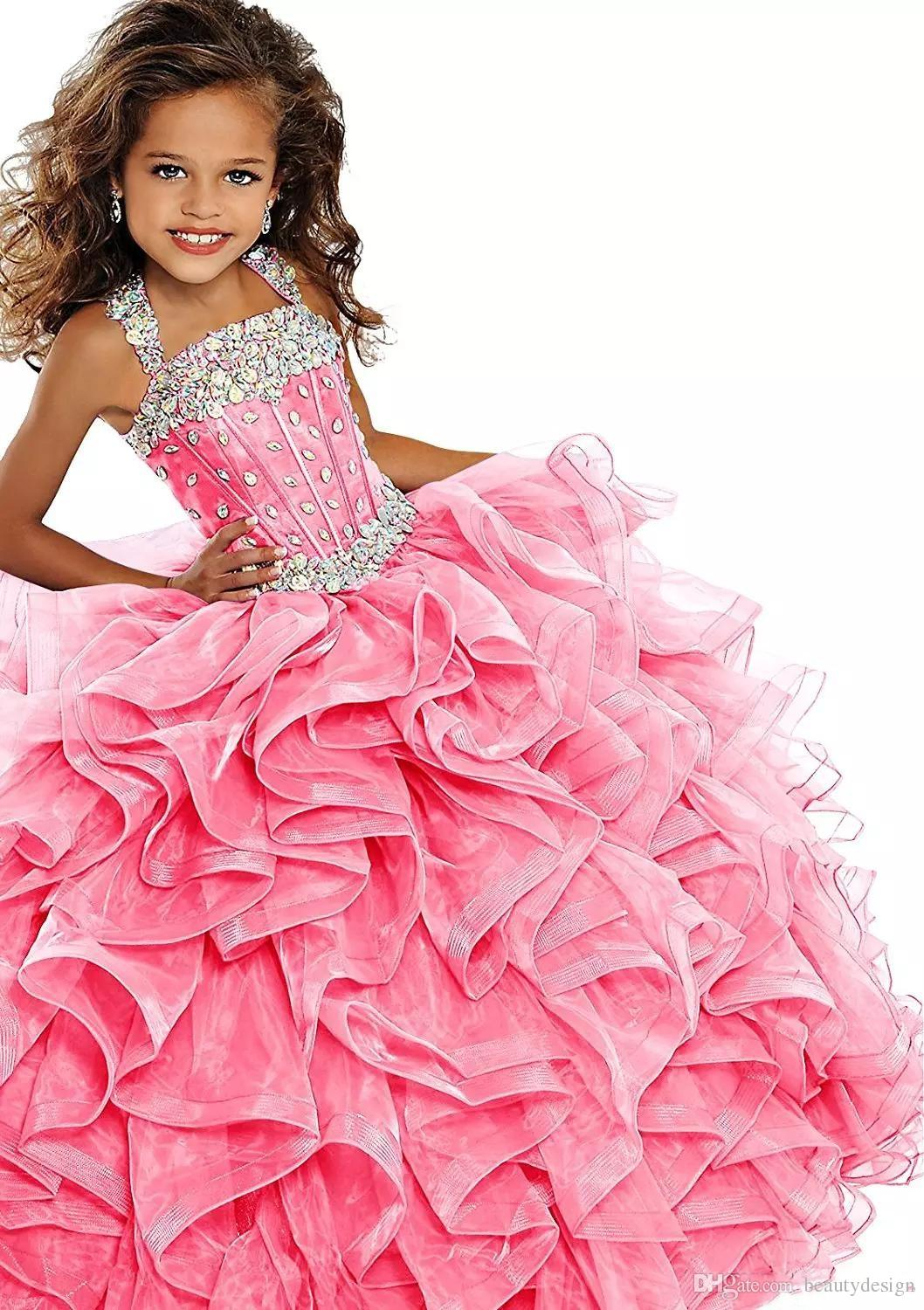 2018 Princess Emerald Green Girls Pageant Dress Ball Gown Long Turquoise Organza Crystals Ruffled Flower Girls Birthday Party Dresses
