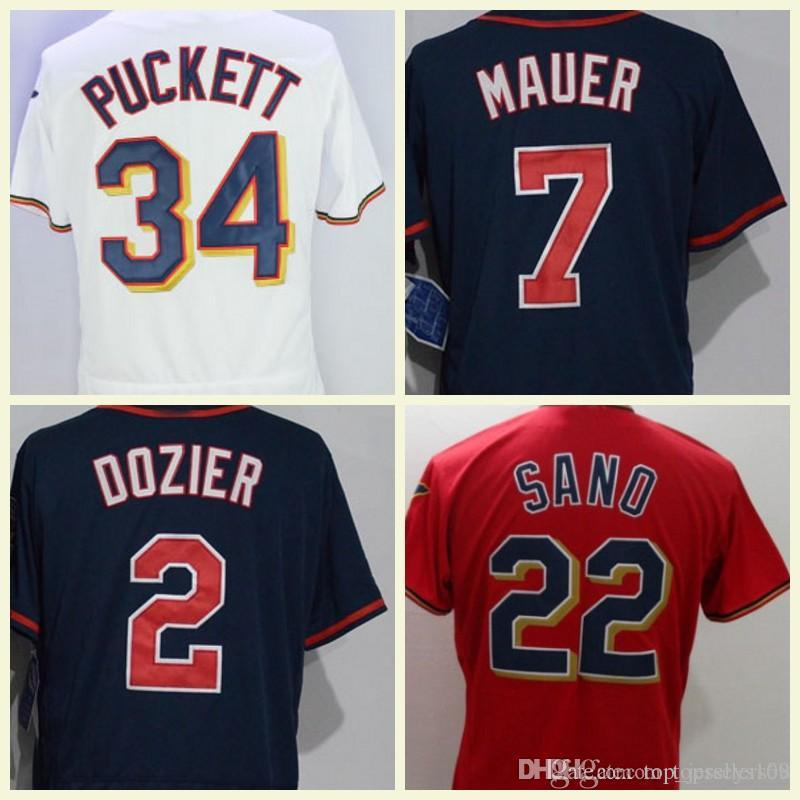 f5df2457e4e 2019 Flexbase Mens 2 Brian Dozier 7 Joe Mauer 25 Byron Buxton 22 Miguel Sano  34 Kirby Puckett Baseball Jersey White Navy From Top jerseys168