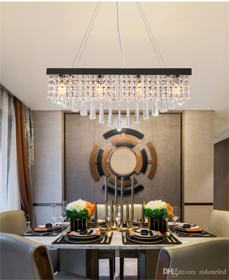 Modern Crystal Chandelier For Dining Room Rectangle LED Hanging Lighting Pearl Black Stainless steel Suspension Lamps