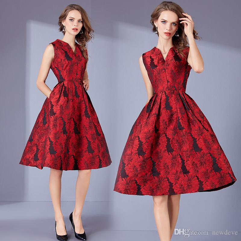 Gowns Red On Dresses Hot Length Knee Evening Prom V Emboridery Sale 88rwq6H