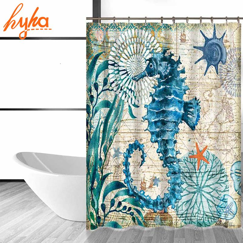 2018 Hyha Marine Polyester Waterproof Shower Curtain Seahorse Turtle Hooks Mildew Resistant Bath Home Bathroom Decor From Hopestar168