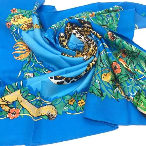 New product spring and spring 100% pure silk printed leopard pattern 90 * 90CM woman silk scarf blue gray two colors hot sale