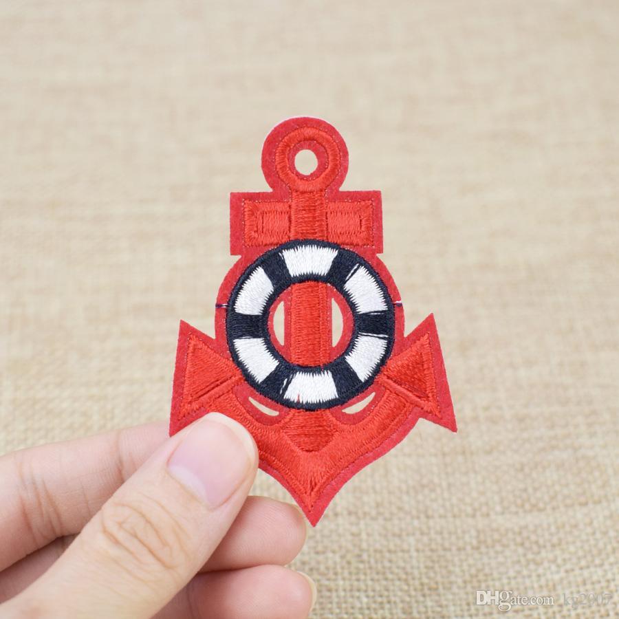 Vermelho Âncora Patches para Sacos de Vestuário de Ferro em Apliques de Transferência de Patch para o Revestimento DIY Costurar Emblema Do Bordado