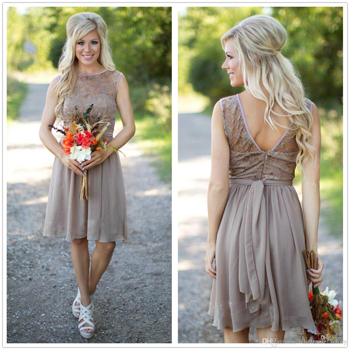 Brown Chiffon Short Country Bridesmaid Dresses Sheer Lace Top Knee ...