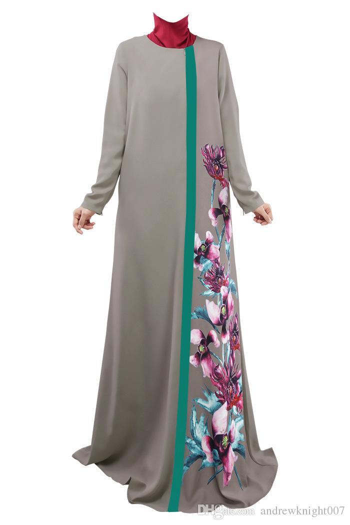 Abito delle donne musulmane Abaya O-Collo manica lunga piano-lunghezza sciolto stampato islamico jilbab hijab caftano abbigliamento donna etnica DK726MZ