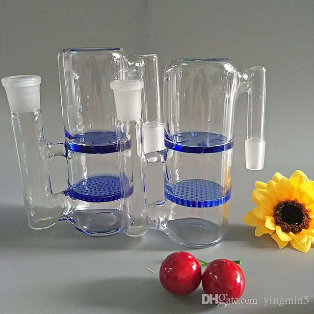 18.8mm & 14mm Joint ash catcher with honey comb and turbine perc for glass bong glass smoking pipe water pipe bongs AC-008