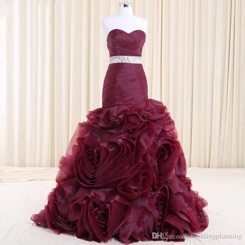 Real Photo Burgundy Plum Tiered Handmade Prom Dress Formal Mermaid vestido de noiva High End Bridal Eveing Dress Red Carpet Maxi Gowns