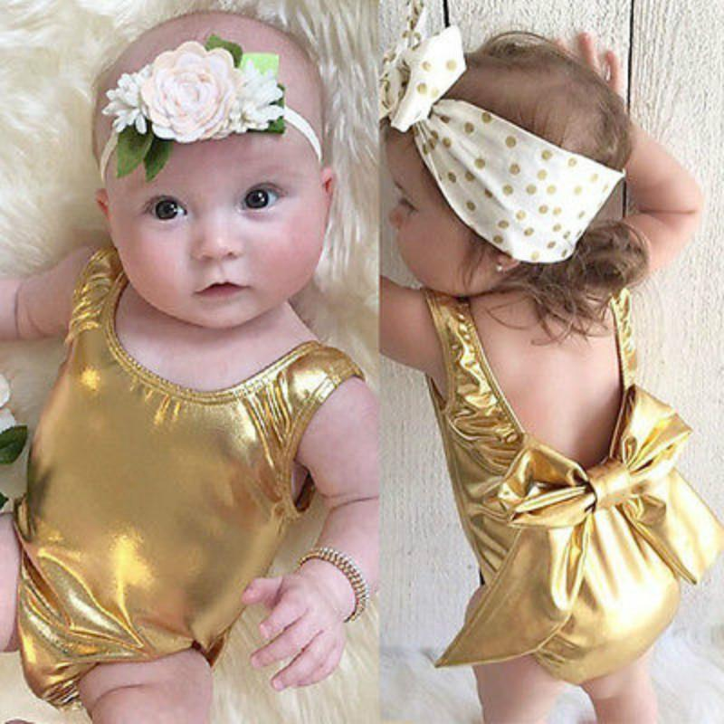 Newborn Infant Baby Girls Backless Bowknot Gold One Piece Swimsuit Beachwear Swimwear Summer Bathing Suit Bikini Biquini 0-2Y
