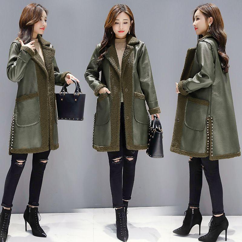 a8e9e130a Compre Solto 2018 Inverno Novo Padrão Terno Vestido De Moda Fundo Longo  Casaco De Lã Mulher Jaqueta De Couro Das Mulheres De Modleline