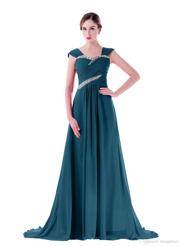 2019 платья невесты дешевые милая с рукавом Cap оборками бисером длинные длина пола шифон на заказ младших подружек невесты платье m97