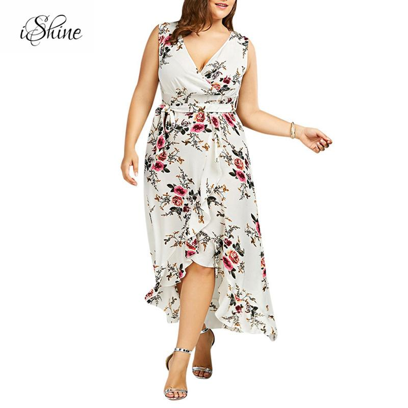 2018 Fashion Plus Size Ruffles Summer Beach Dresses V neck y