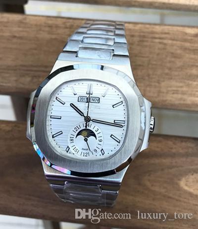 dc3adeedd3a Compre Luxo AAA Qualidade Homens PA Relógio De Pulso Pulseira De Aço  Inoxidável Superfície Branca Anel Máquina Núcleo Calendário Frete Grátis De  Luxury tore ...