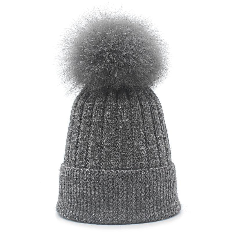b148f115d ROSELUOSI Real Fox Fur Pom Poms Beanies For Women Autumn Winter Wool  Knitted Hats Ladies Thick Warm Skullies Female Gorras