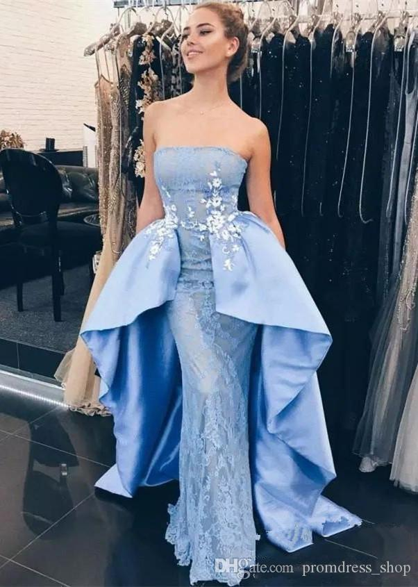 New 2018 Strapless Lace Mermaid Long Prom Dresses Light Blue Applique Skirt  Sweep Train Formal Party Evening Gowns 80s Prom Dress Backless Prom Dresses  From ... 30de948153b3