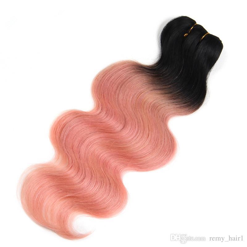 # 1B / Rose Or Ombre Vierge Péruvienne Cheveux 3 Bundles Offres avec Fermeture Vague de Corps Ombre Rose Cheveux Humains Weaves avec 4x4 Dentelle Fermeture